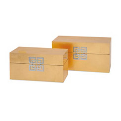Gold Leaf Boxes, Set of Two