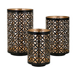 Black Helena Cutout Candle Holders, Set of 3