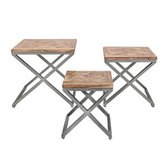 Yellen X-Frame Metal and Wood Tables, Set of 3