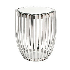 Xanthia Polished Steel Mirrored Accent Table