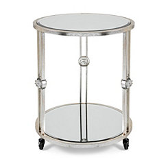 Crestly Mirrored Accent Table with Wheels