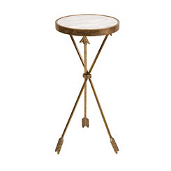 Marble Top Gold Arrow Accent Table