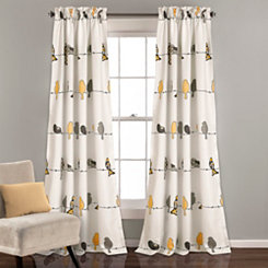 Yellow and Gray Bird Curtain Panel Set, 84 in.