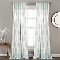 Blue Teardrop Leaves Curtain Panel Set, 84 in.