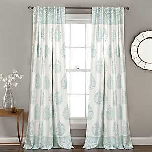 Blue Teardrop Leaves Curtain Panel Set, 84 in.