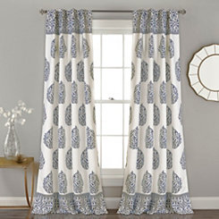Navy Teardrop Leaves Curtain Panel Set, 84 in.