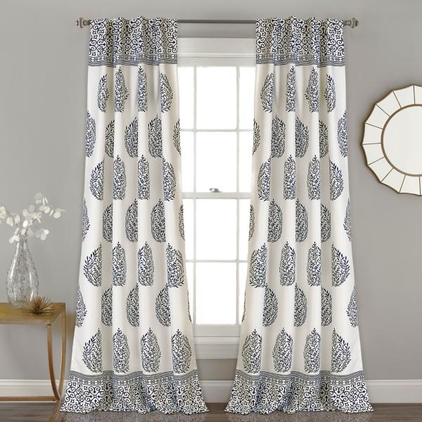 navy teardrop leaves curtain panel set 84 in