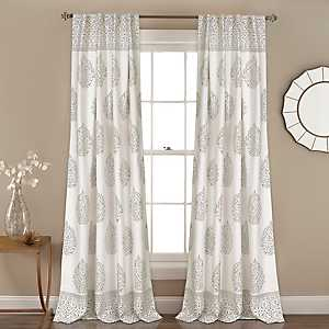Gray Teardrop Leaves Curtain Panel Set, 84 in.