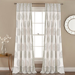Gray Teardrop Leaves Curtain Panel Set, 84 in.