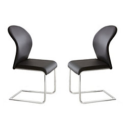 Black and Chrome Theo Dining Chairs, Set of 2
