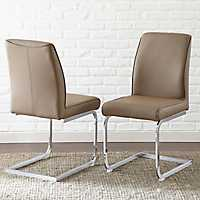 Brown and Chrome Saxon Dining Chairs, Set of 2