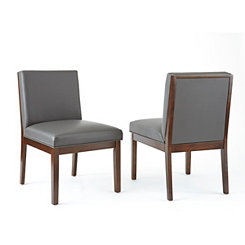 Emerson Gray Leather Parsons Chairs, Set of 2