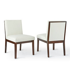 Emerson White Leather Parsons Chairs, Set of 2