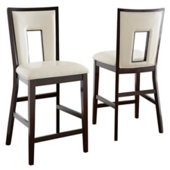 Daxel White Upholstered Counter Stools, Set of 2