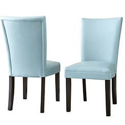Marlowe Aqua Leather Parsons Chairs, Set of 2
