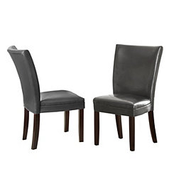 Marlowe Gray Leather Parsons Chairs, Set of 2