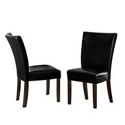 Marlowe Black Leather Parsons Chairs, Set of 2