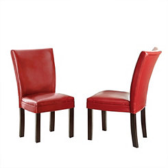 Marlowe Red Leather Parsons Chairs, Set of 2