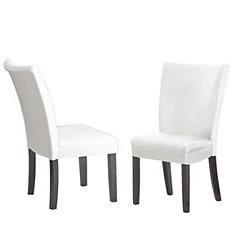 Marlowe White Leather Parsons Chairs, Set of 2
