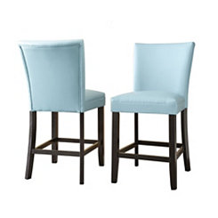 Marlowe Aqua Leather Counter Stools, Set of 2