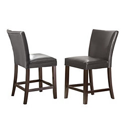Marlowe Gray Leather Counter Stools, Set of 2