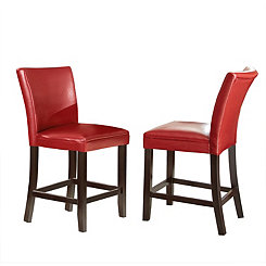 Marlowe Red Leather Counter Stools, Set of 2