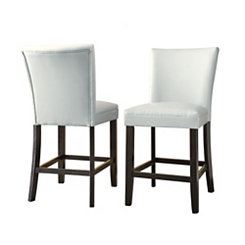 Marlowe White Leather Counter Stools, Set of 2