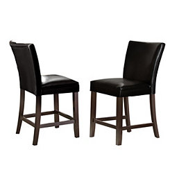 Marlowe Black Leather Counter Stools, Set of 2