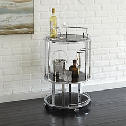 Smoked Glass and Chrome Ophelia Serving Cart