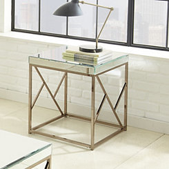 Ellis Copper Chrome Mirrored Accent Table