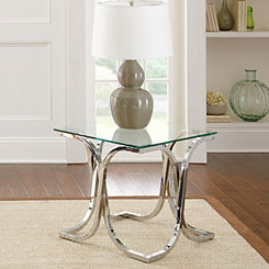 Lennon Glass and Chrome Accent Table