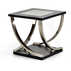 Rykan Square Black Mirrored Accent Table