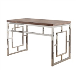 Alana Chrome and Faux Wood Desk