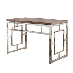 Alana Chrome and Faux Wood Desk