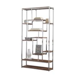 Alana Chrome and Faux Wood Bookshelf