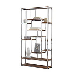 Alana Chrome and Faux Wood Bookshelf