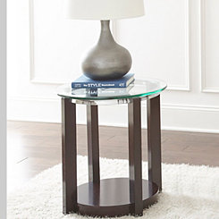 Carlos Wood and Glass Accent Table