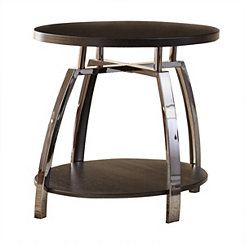 Colin Faux Wood and Metal Accent Table