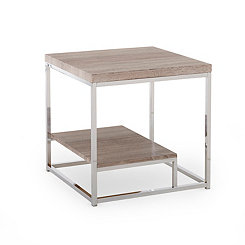 Livia Light Driftwood Brown Accent Table