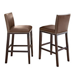 Brown with Nail Head Trim Bar Stools, Set of 2