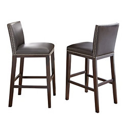 Gray with Nail Head Trim Bar Stools, Set of 2