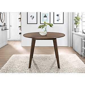 Round Walnut Mid-Century Modern Dining Table
