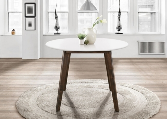 Round White Top Mid-Century Modern Dining Table
