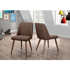 Modern Brown Dining Chairs, Set of 2