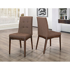 Modern Tufted Brown Dining Chairs, Set of 2