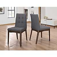 Mid-Century Steel Gray Dining Chairs, Set of 2