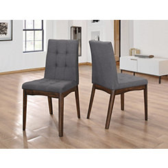Modern Tufted Steel Gray Dining Chairs, Set of 2