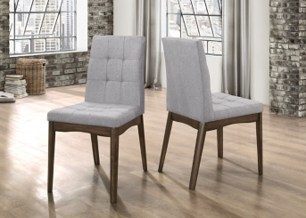 Mid-Century Gray Dining Chairs, Set of 2