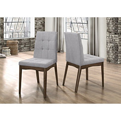 Modern Tufted Gray Dining Chairs, Set of 2