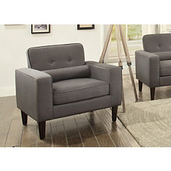 Modern Button Tufted Gray Accent Chair